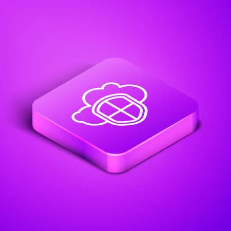 Isometric line Cloud and shield icon isolated on purple background. Cloud storage data protection. Security, safety, protection, privacy concept. Purple square button. Vector Illustration