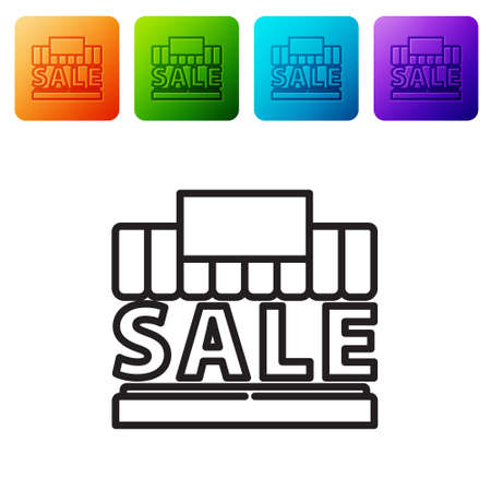 Black line Shopping building or market store icon isolated on white background. Supermarket sale concept. Set icons in color square buttons. Vector Illustration
