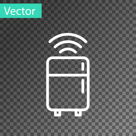 White line Smart refrigerator icon isolated on transparent background. Fridge freezer refrigerator. Internet of things concept with wireless connection. Vector Vectores