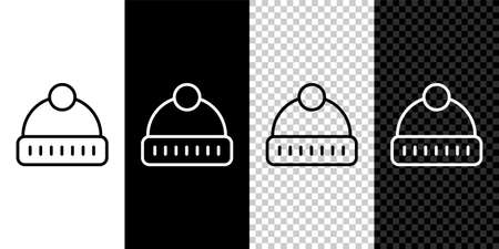 Set line Winter hat icon isolated on black and white background. Vector