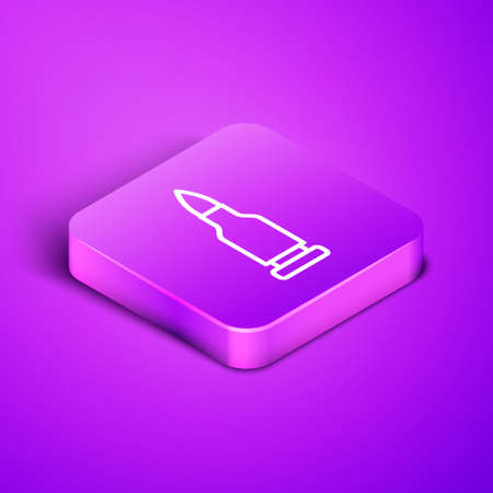 Isometric line Bullet icon isolated on purple background. Purple square button. Vector