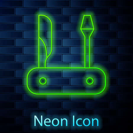 Glowing neon line Swiss army knife icon isolated on brick wall background. Multi-tool, multipurpose penknife. Multifunctional tool. Vector Ilustração
