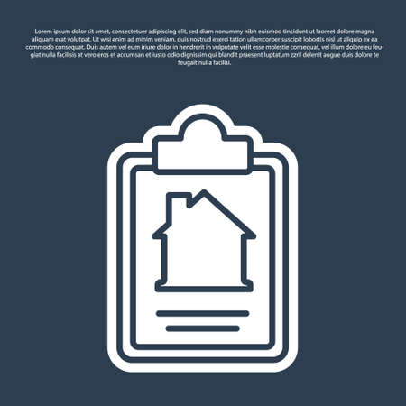 Blue line House contract icon isolated on blue background. Contract creation service, document formation, application form composition. Vector
