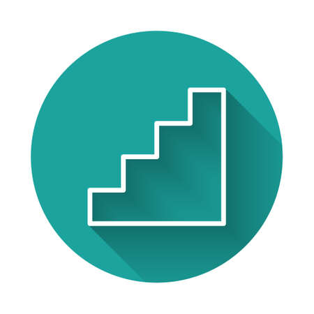 White line Staircase icon isolated with long shadow. Green circle button. Vector 向量圖像