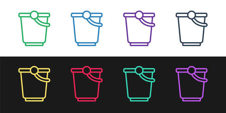 Set line Bucket icon isolated on black and white background. Vector