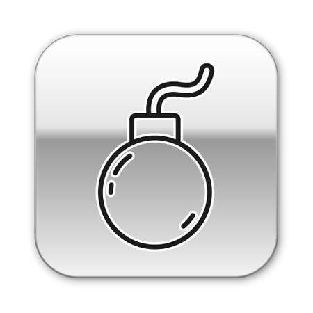 Black line Bomb ready to explode icon isolated on white background. Silver square button. Vector