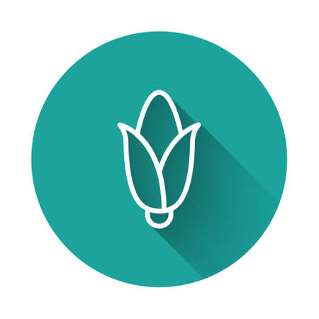 White line Corn icon isolated with long shadow. Green circle button. Vector