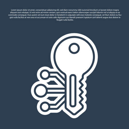 Blue line Cryptocurrency key icon isolated on blue background. Concept of cyber security or private key, digital key with technology interface. Vector 矢量图像