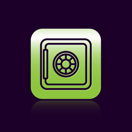 Black line Safe icon isolated on black background. The door safe a bank vault with a combination lock. Reliable Data Protection. Green square button. Vector
