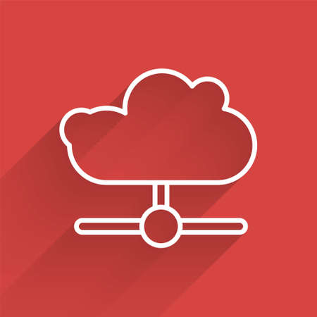 White line Network cloud connection icon isolated with long shadow. Social technology. Cloud computing concept. Vector