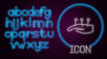 Glowing neon line Acupuncture therapy on the hand icon isolated on brick wall background. Chinese medicine. Holistic pain management treatments. Neon light alphabet. Vector Illustration