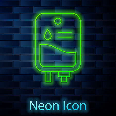 Glowing neon line IV bag icon isolated on brick wall background. Blood bag. Donate blood concept. The concept of treatment and therapy, chemotherapy. Vector Illustration