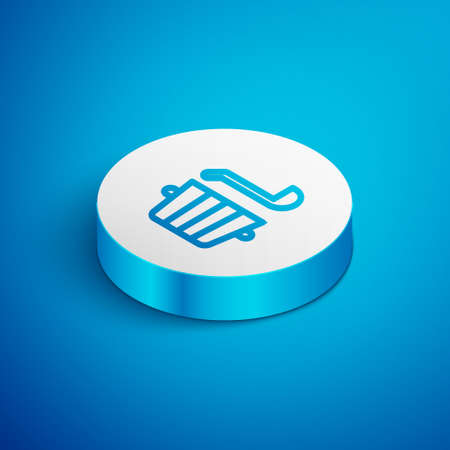 Isometric line Sauna bucket and ladle icon isolated on blue background. White circle button. Vector