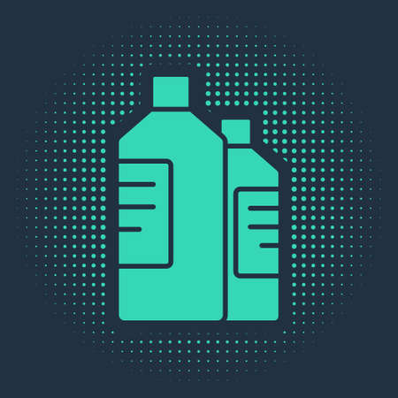 Green Plastic bottles for laundry detergent, bleach, dishwashing liquid or another cleaning agent icon isolated on blue background. Abstract circle random dots. Vector Illustration Vecteurs