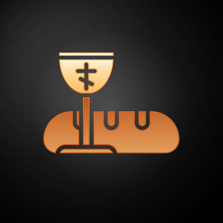 Gold First communion symbols for a nice invitation icon isolated on black background. Vector Illustration Vectores