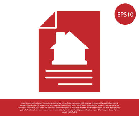 Red House contract icon isolated on white background. Contract creation service, document formation, application form composition. Vector Stock Illustratie