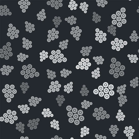 Grey Caviar icon isolated seamless pattern on black background. Vector.