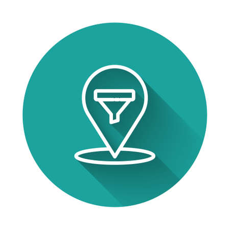 White line Location with sales funnel icon isolated with long shadow. Infographic template. Green circle button. Vector Illustration