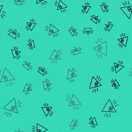 Black line Masons symbol All-seeing eye of God icon isolated seamless pattern on green background. The eye of Providence in the triangle. Vector Illustration