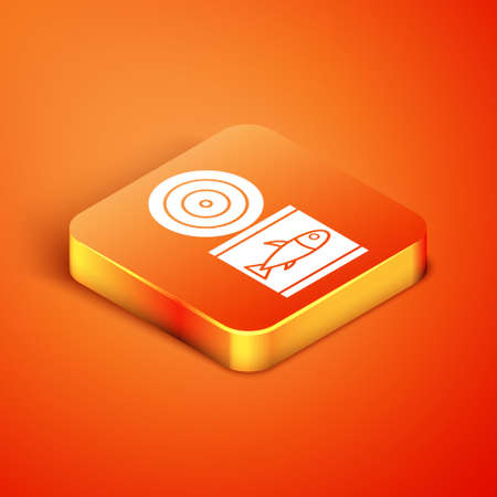 Isometric Canned fish icon isolated on orange background. Vector. Vettoriali