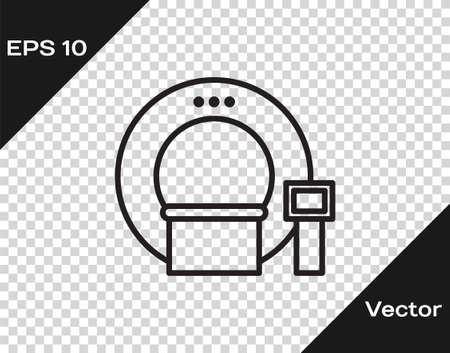 Black line Tomography icon isolated on transparent background. Medical scanner, radiation. Diagnosis, radiology, magnetic resonance therapy. Vector Illustration