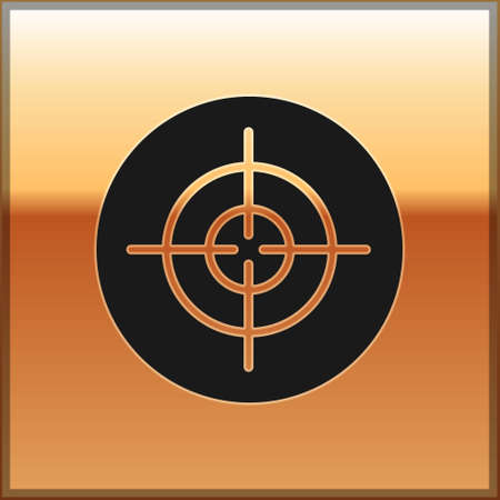 Black Target sport icon isolated on gold background. Clean target with numbers for shooting range or shooting. Vector Vettoriali
