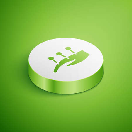 Isometric Acupuncture therapy on the hand icon isolated on green background. Chinese medicine. Holistic pain management treatments. White circle button. Vector