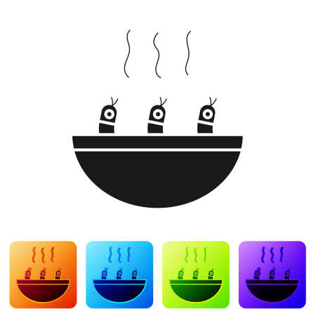Black Soup with shrimps icon isolated on white background. Tom yum kung soup. Set icons in color square buttons. Vector. Illustration