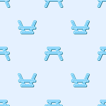 Blue line Picnic table with benches on either side of the table icon isolated seamless pattern on grey background. Vector Illustration
