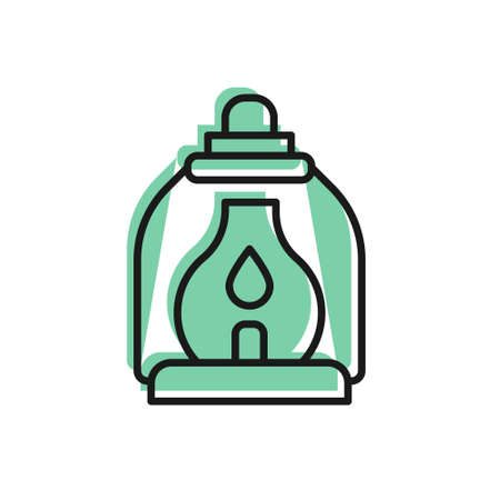 Black line Camping lantern icon isolated on white background. Vector