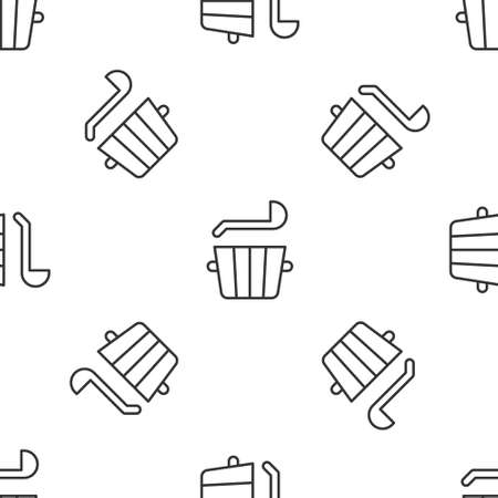 Grey line Sauna bucket and ladle icon isolated seamless pattern on white background. Vector Vettoriali