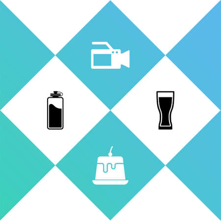 Set Sport bottle with water, Pudding custard, Cinema camera and Glass of beer icon. Vector