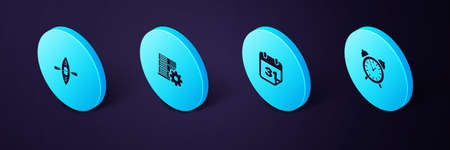 Set Isometric Alarm clock, Calendar, Server setting and Kayak and paddle icon. Vector