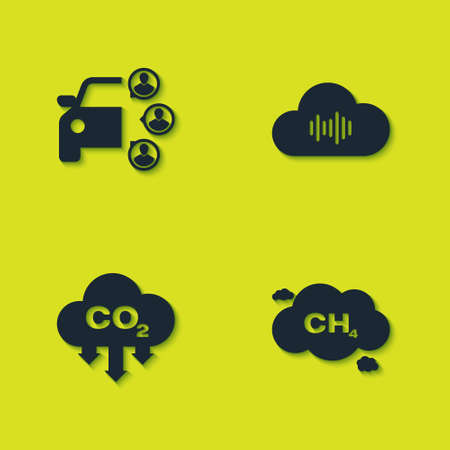 Set Car sharing, Methane emissions reduction, CO2 cloud and Music streaming service icon. Vector