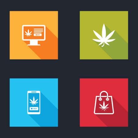 Set Online buying marijuana, Marijuana or cannabis leaf, and Shopping bag of icon. Vector