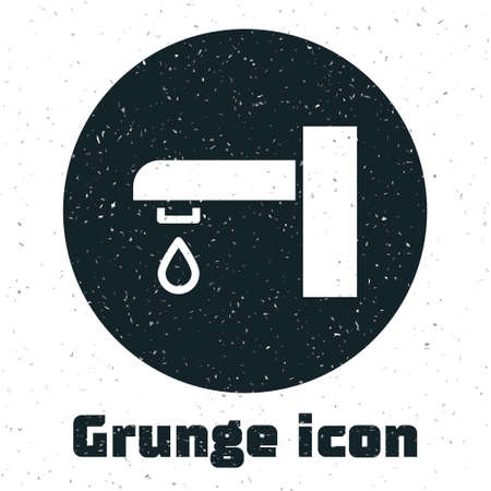 Grunge Water tap icon isolated on white background. Monochrome vintage drawing. Vector