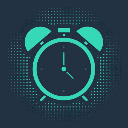 Green Alarm clock icon isolated on blue background. Wake up, get up concept. Time sign. Abstract circle random dots. Vector