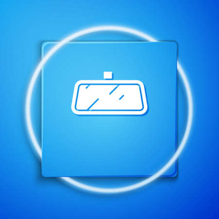 White Car mirror icon isolated on blue background. Blue square button. Vector