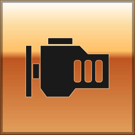 Black Check engine icon isolated on gold background. Vector