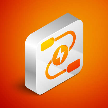 Isometric Car battery jumper power cable icon isolated on orange background. Silver square button. Vector
