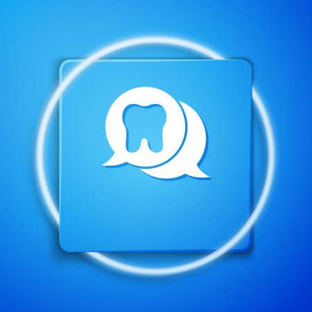 White Tooth icon isolated on blue background. Tooth symbol for dentistry clinic or dentist medical center and toothpaste package. Blue square button. Vector