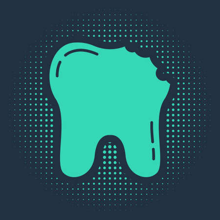 Green Broken tooth icon isolated on blue background. Dental problem icon. Dental care symbol. Abstract circle random dots. Vector