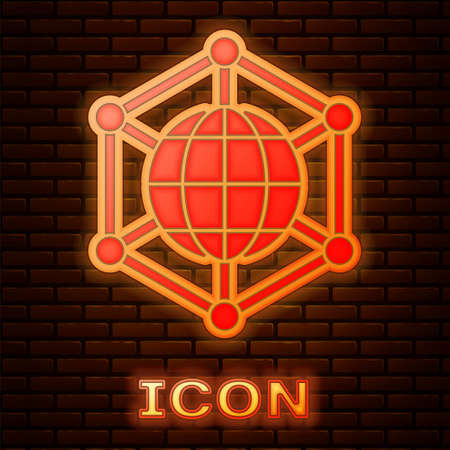 Glowing neon Global technology or social network icon isolated on brick wall background. Vector