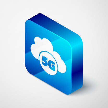Isometric Cloud 5G new wireless internet wifi connection icon isolated on grey background. Global network high speed connection data rate technology. Blue square button. Vector