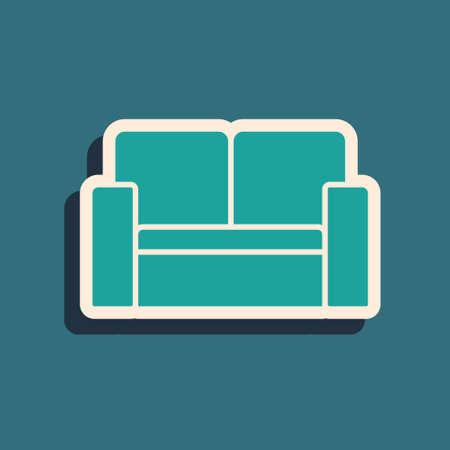 Green Cinema chair icon isolated on green background. Long shadow style. Vector