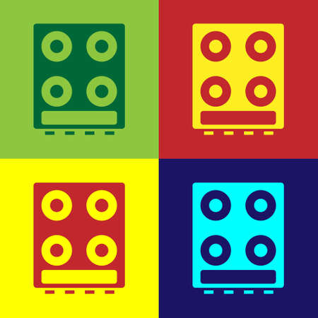 Pop art Gas stove icon isolated on color background. Cooktop sign. Hob with four circle burners. Vector