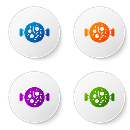 Color Chicken tikka masala icon isolated on white background. Indian traditional food. Set icons in circle buttons. Vector Illustration