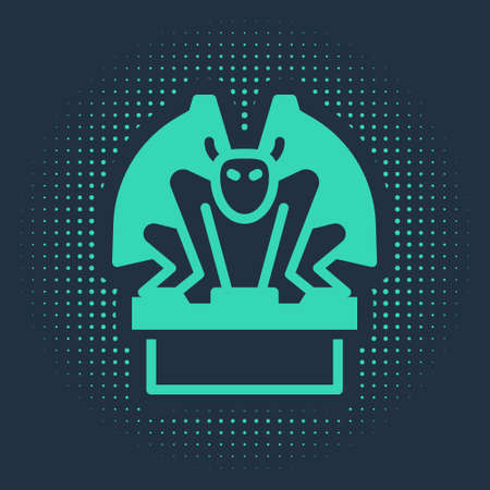 Green Gargoyle on pedestal icon isolated on blue background. Abstract circle random dots. Vector