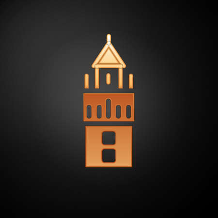Gold Giralda in Seville Spain icon isolated on black background. Vector