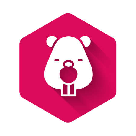 White Beaver animal icon isolated with long shadow. Pink hexagon button. Vector 向量圖像